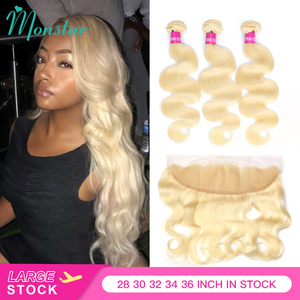 613 Honey Russian Blonde Human Hair Peruvian Virgin Hair Body Wave 3 4 Weave 613 Bundles with/and 13x6 Lace Closure Frontal(China)