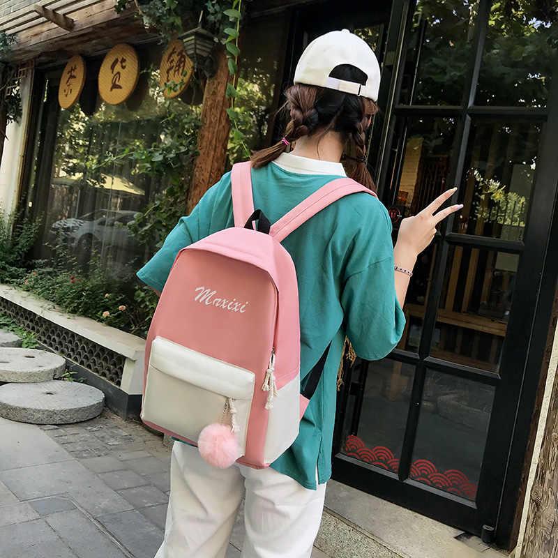 Mochila escolar feminina de pano oxford, 4 de pçs/set, à prova d'água, bolsa para livros, adolescentes, viagem casual