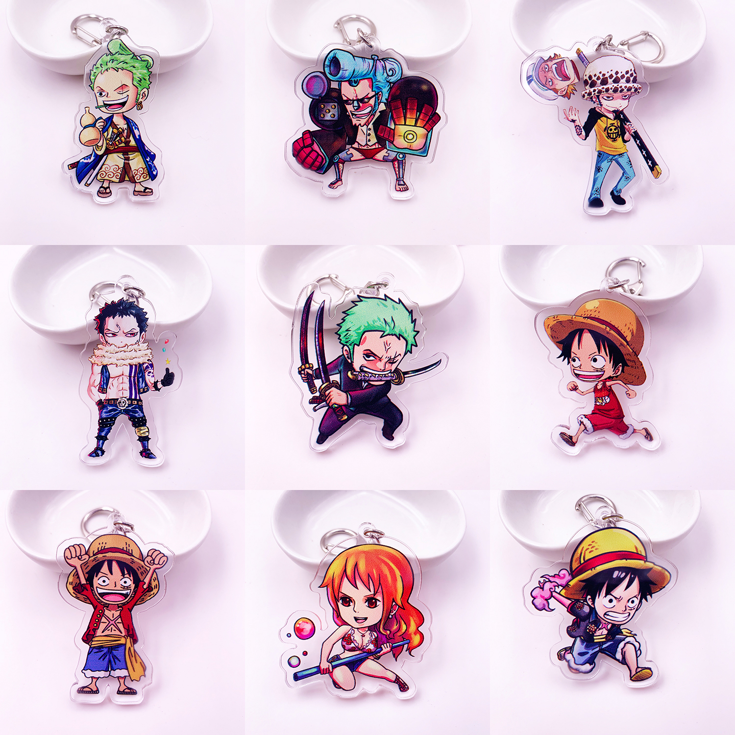 Cute Anime Cartoon One Piece Keychain Double Sided Acrylic Key Chain Women And Men Kids KeyRing Gift Pendant Jewelry Porte Clef