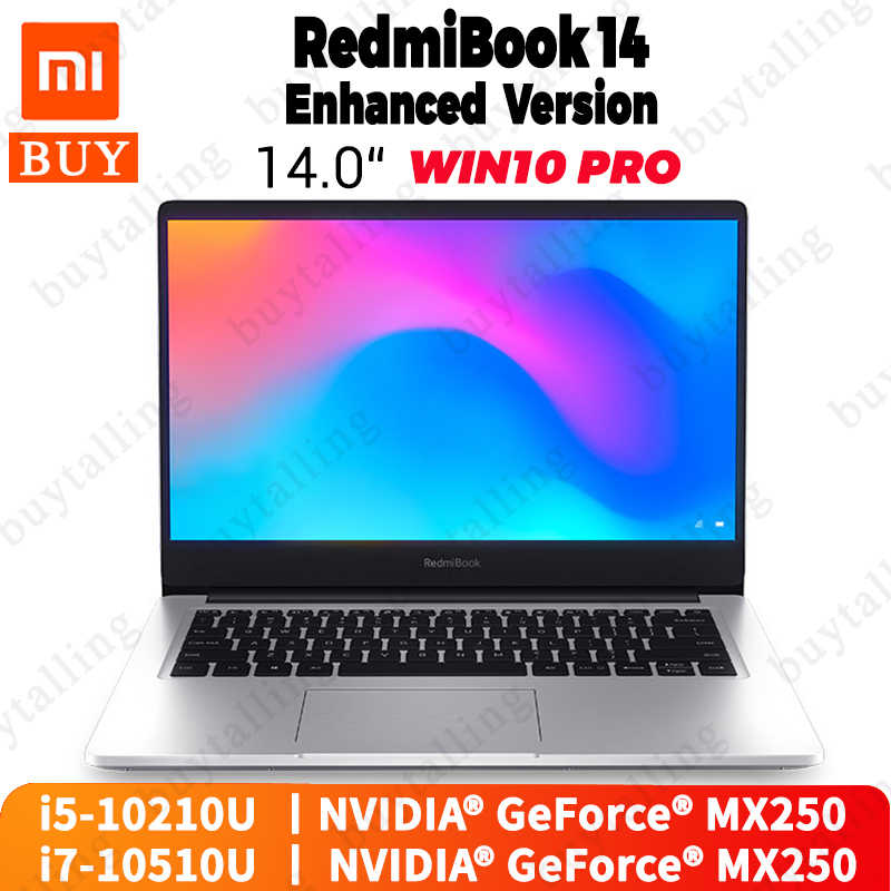الأصلي شاومي Redmibook 14 برو محمول إنتل كور i5-10210U/i7-10510U NVIDIA GeForce MX250 8 جيجابايت DDR4 256 جيجابايت/512 جيجابايت SSD 2 جيجابايت GDDR5