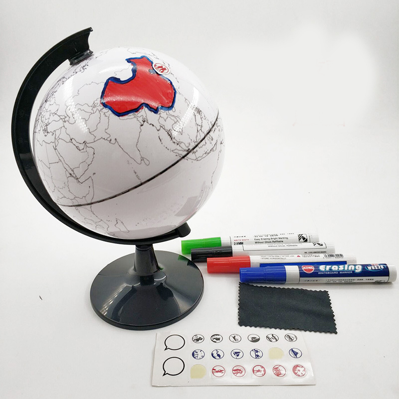 Paintable and Erasable Globe Model Plastic Erasing World Map Drawing Tellurian DIY Teaching Implement with 4 Brush PUO88