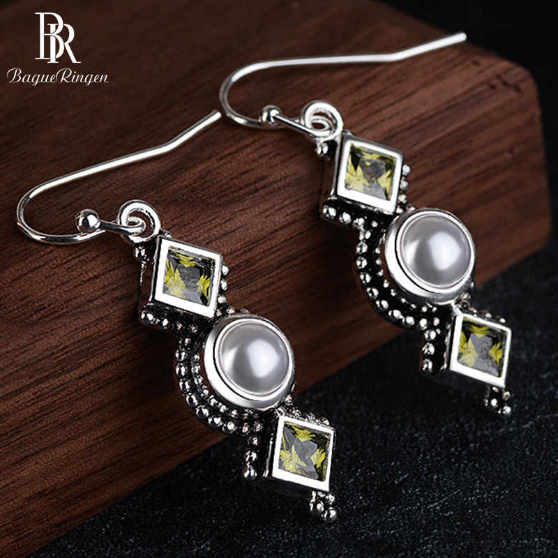 Bague Ringen Vintage Thai Silver 925 Jewelry Pearl Earrings for Women Square Olivine Green Zircon Long Ear drops Engagement Gift