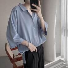 Мужская летняя рубашка с короткими рукавами модная однотонная