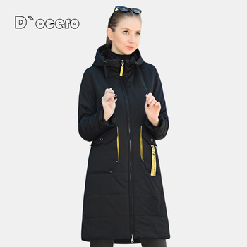 DOCERO 2021 nowa kurtka jesienno-jesienna kobiety gorąca sprzedaż cienka bawełna płaszcz długie pikowane parki z kapturem moda ciepłe pikowane znosić tanie i dobre opinie D`ocero Wypełnienie łączone natryskowo CN (pochodzenie) Na wiosnę jesień long Pani urząd Dla osób w wieku 18-35 lat