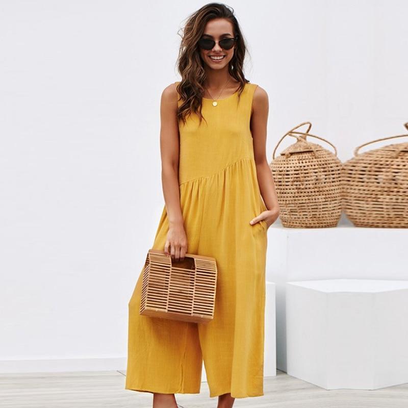 Vintage Long Bodysuit Women 2020 Summer Elegant Solid Jumpsuit Sleeveless O Neck Backless Wide Leg Loose Plus Size Combinaison