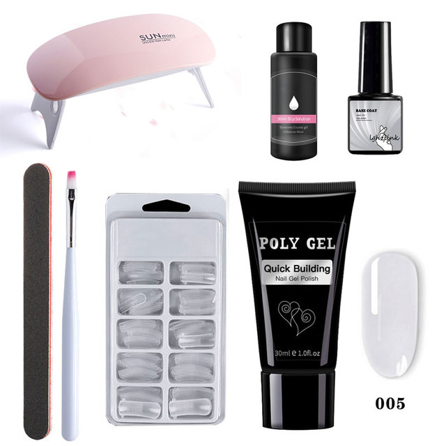 Nail Kit Poly Gel Set6w LED Lamp Nail Gel Polish Set Quick Building For Nail Extensions Hard Jelly Gel Polygel Manicure Set 3
