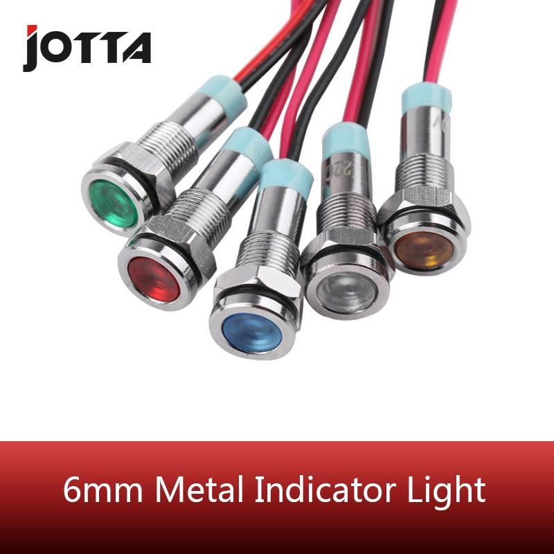 6mm Metal LED  Indicator Light Waterproof Signal Lamp 6V 12V 24V 220v  Red /yellow/ Blue/ Green /white