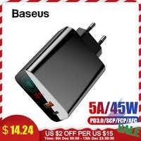 Baseus 45 w display lcd carregador usb com carga rápida 4.0 3.0 para redmi nota 7 qc3.0 pd carregador de telefone rápido para iphone 11 pro max