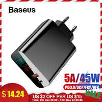 Baseus 45W wyświetlacz LCD ładowarka USB z szybkim ładowaniem 4.0 3.0 dla Redmi Note 7 QC3.0 PD szybka do telefonu ładowarka do iPhone 11 Pro Max