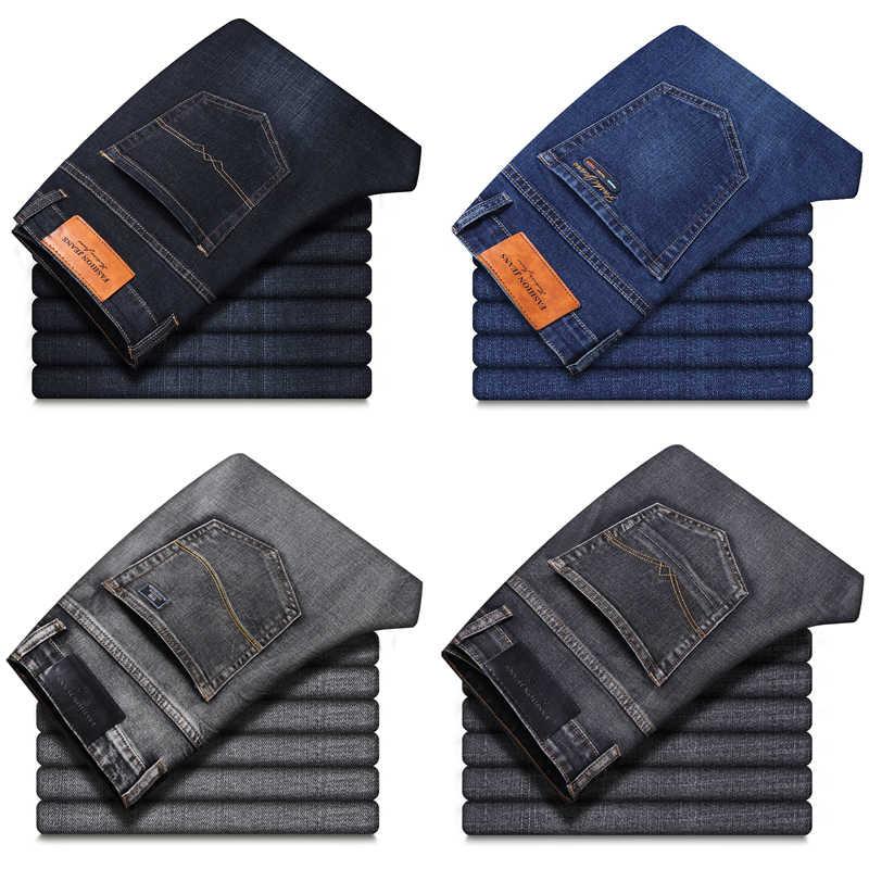 خريف شتاء جديد كلاسيكي نمط الرجال رمادي جينز الأعمال موضة لينة تمتد سراويل جينز ماركة الذكور صالح السراويل أسود أزرق
