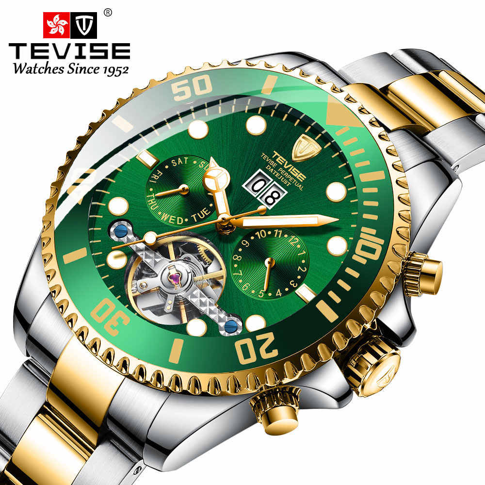 Tevise Luxury Fashion Brand Mechanical Watch Man Automatic Tourbillon Gold Watches Casual Waterproof Clock Masculino Relogio