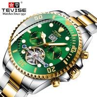 Tevise Luxury Fashion Brand Mechanical Watch Man Automatic Tourbillon Gold Watches Casual Waterproof Clock Masculino Relogio