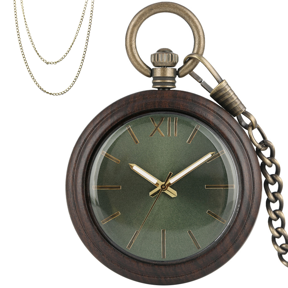 Novel Wooden Case Quartz Pocket Watch Ebony Wood Pendant Clock Antique Bronze Pocket Hanging Watch With Fob Chain New 2019