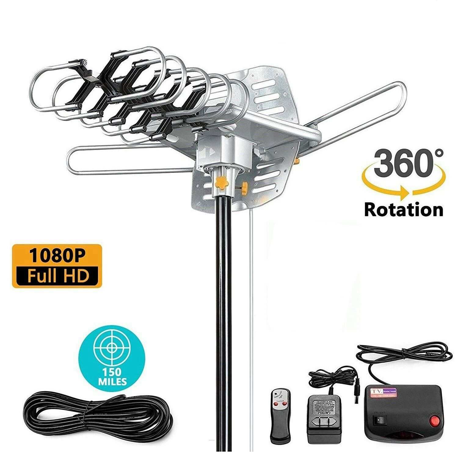 150 Miles 360 Degree HD Digital Outdoor TV Antenna For Full HDTV DVB-T UHF VHF FM High Gain Strong Signal Outdoor TV Antenna