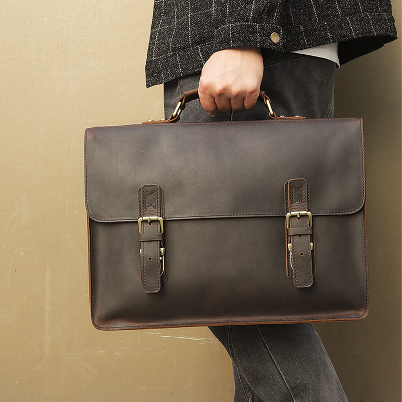 Luufan New Arrivals Fashion Leather Briefcase Bag Classic Designer 15.6