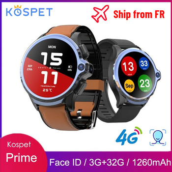 KOSPET Prime 4G Smart Watch 1.6 inch 1260mAh Battery Face ID Unlock 3GB 32GB Dual Camera GPS/GLONASS Android Watch Phone for Men