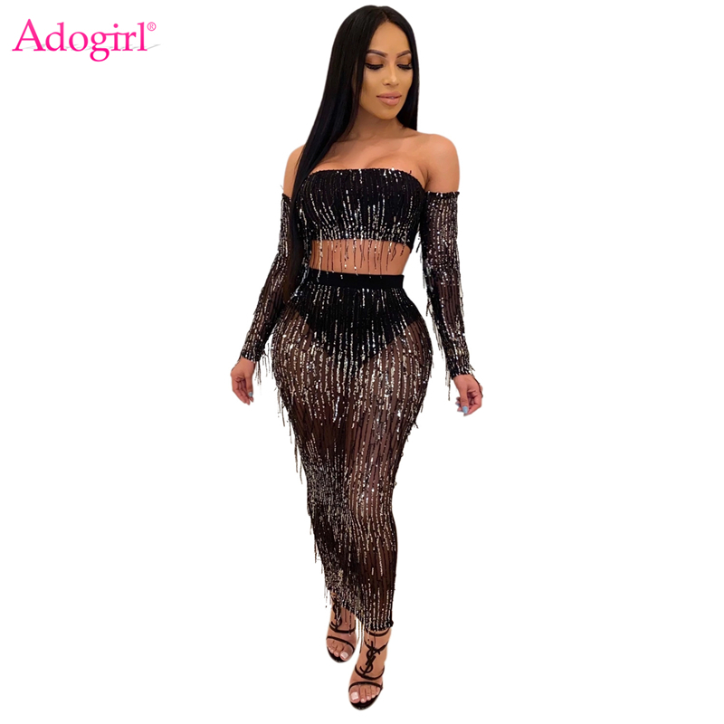 Adogirl Sequins Tassel Sheer Mesh Two Piece Set Dress Strapless Off Shoulder Long Sleeve Crop Top Bodycon Maxi Skirt Club Suits