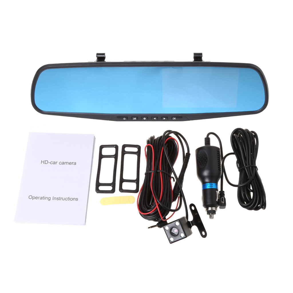 4.3/'/' 1080P Dual Lens Car Auto DVR Mirror Dash Cam Recorder+Rear View Camera Kit