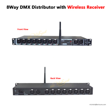 8 weg DMX Isolator Distributeur met 2.4G Draadloze Reciver Lijn Splitter 16 3PIN XLR Plug Pre AMP post AMP