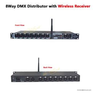 Image 1 - موزع عازل DMX ذو 8 اتجاهات مع موزع خط استقبال لاسلكي 2.4G 16 3PIN XLR مقبس ما قبل أمبير بعد أمبير