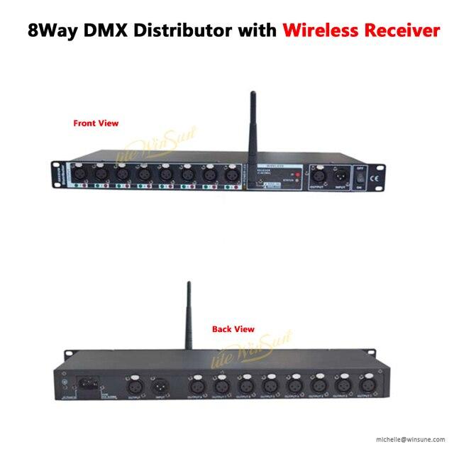 Distributeur disolateur DMX sans fil de 2.4G, 8 voies, avec ligne de récepteur, 16 3 broches, prise XLR, pré ampli, Post ampli