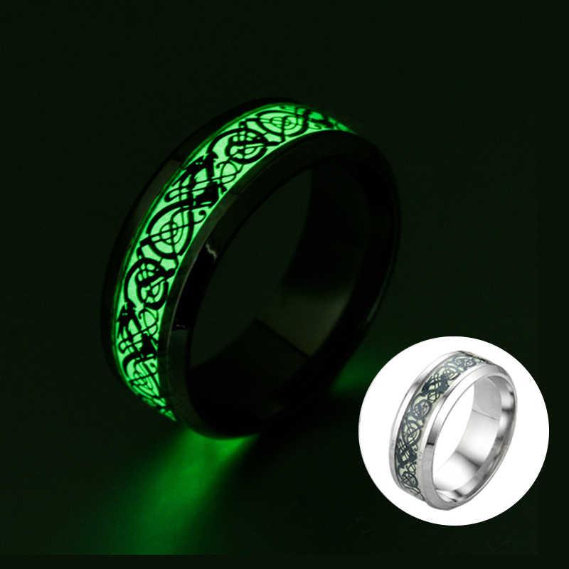 Anéis de aço inoxidável fluorescentes escuros brilhantes para homens anel de banda de casamento anel de moda jóias