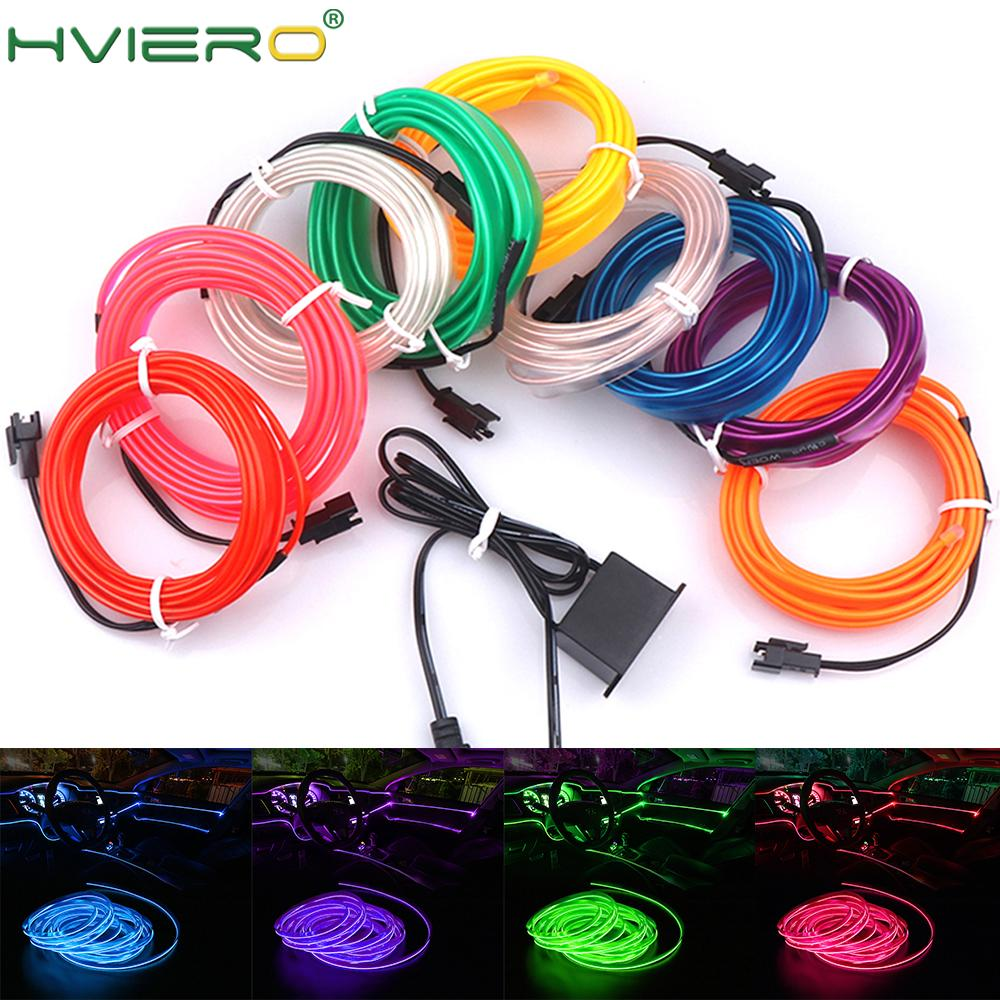 1M/2M/3M/5M Auto Interior Lighting Auto LED Strip Wire Rope Tube Line flexible Neon Light With 12V USB Cigarette Drive DIY LED image