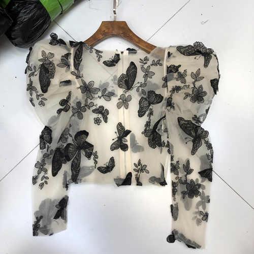 2020 neue Frau Spitze Lange Puff Sleeve Schmetterling Bestickt Sexy Sheer Mesh Blusen Kurze Perspektive Ernte Bluse Top Kleidung