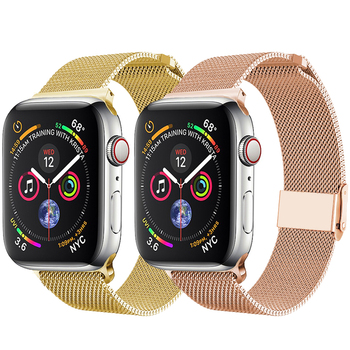 Milanese Loop For Apple Watch band strap 42mm 38mm iwatch 5/4/3/2/1 Stainless Steel Bracelet wrist watchband magnetic buckle ceramic watchband tool for 38mm 42mm iwatch apple watch series 1 2 replacement band steel butterfly buckle strap wrist bracelet