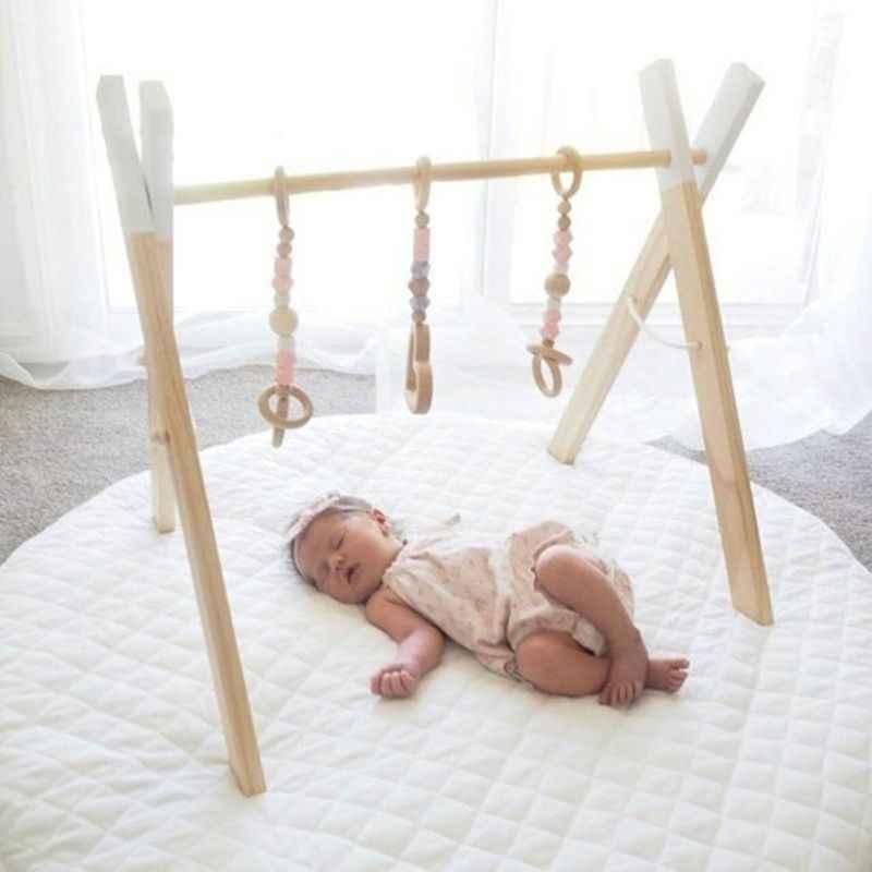 Nordic Stil Holz Baby Fitness Rack Kinder Zimmer Dekoration Spielzeug Faltbare Neugeborenen Spiel Rahmen Hängen Stange Kleinkinder Showr Geschenke