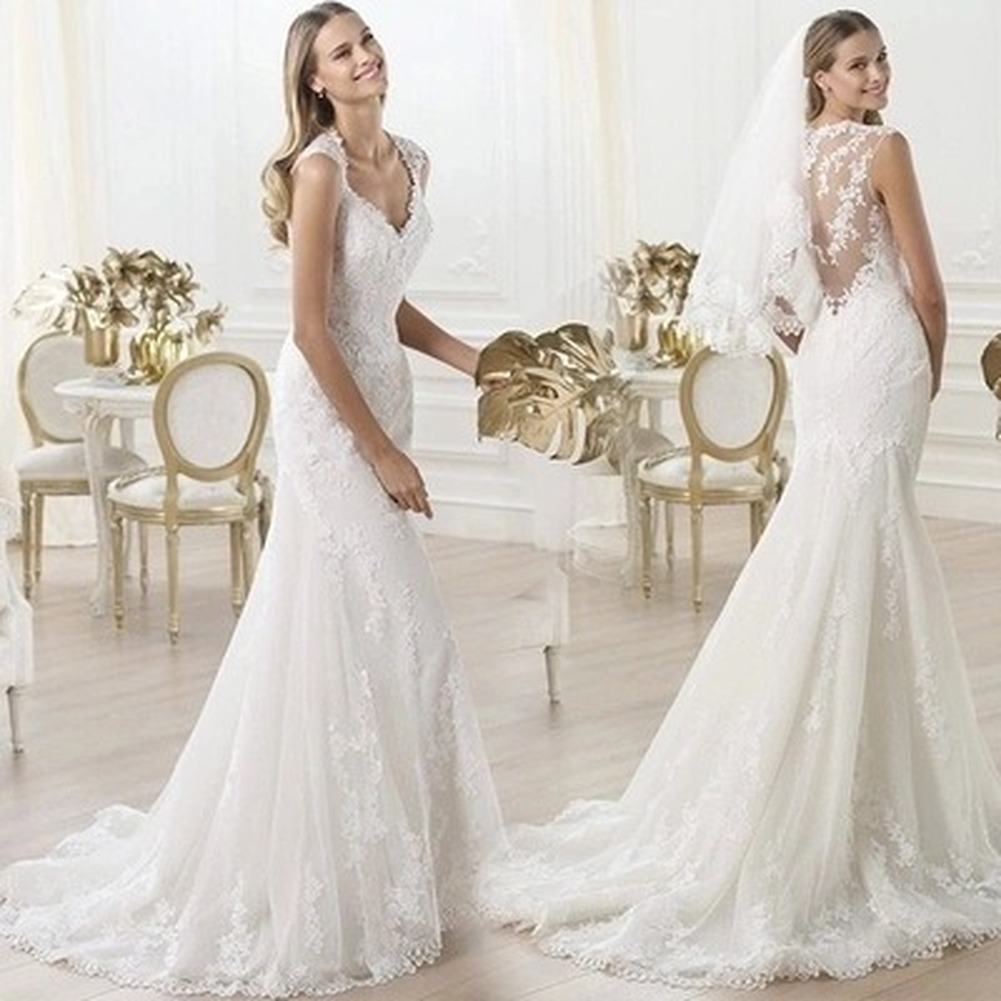 Lace V-neck Dew Bride Perspective Flower Mermaid Trailing Wedding Dress  Customized
