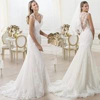 Lace V neck Dew Bride Perspective Flower Mermaid Trailing Wedding Dress Customized