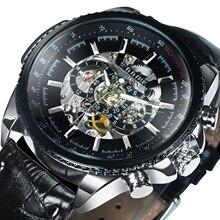 Победитель официальный автоматические часы мужские военные механические каркасные часы, наручные часы, натуральная кожа, роскошный цвета: золотистый, серебристый черный мужской большой чехол