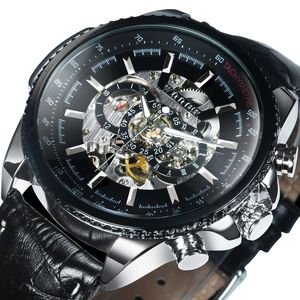 Image 1 - WINNER Official Automatic Watch Men Military Skeleton Mechanical Watches Genuine Leather Strap Luxury Dress Mens Wristwatches