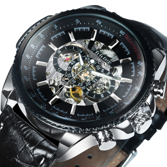 WINNER Official Automatic Watch Men Military Skeleton Mechanical Watches Genuine Leather Strap Luxury Dress Mens Wristwatches