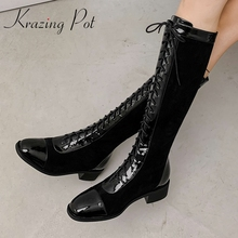 Knee-High Boots Krazing Pot Shoes Cross-Tied Heel Winter Korean Patent Leather Fashion