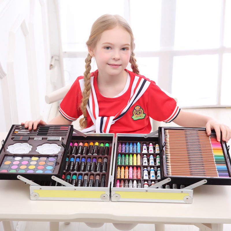 Brush Painting Set Children's Painting Tools Birthday Gift Primary Watercolor Learning Supplies Gift Sets  Kids Stationery