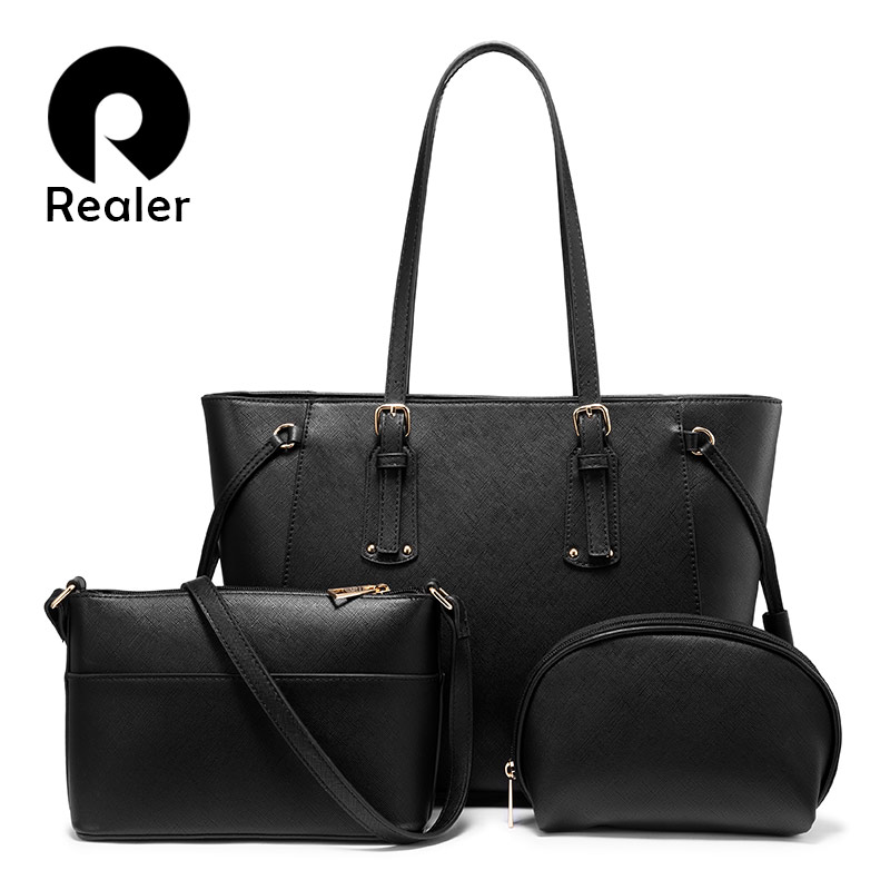 Realer Bag Set Women Handbag Crossbody Shoulder Bag Female Purse Luxury Designer PU Leather For Ladies Totes Large Capacity