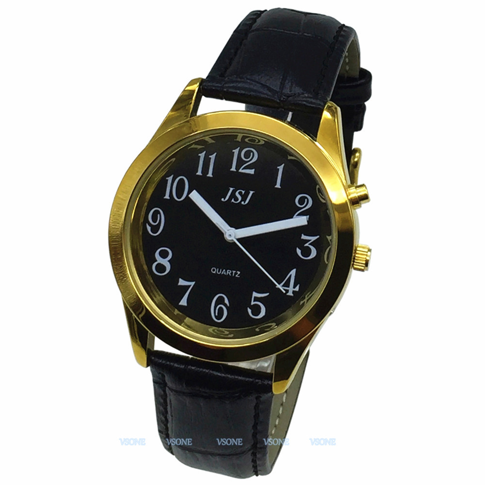 English Talking Watch With Alarm Function, Talking Date And Time, Black Dial, Black Leather Band, Golden Case TAG-807