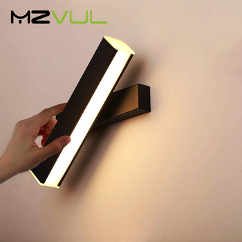 white black nordic aluminum painted metal wall lamp modern led bathroom light mirror room contemporary design kitchen stair Nordic Lamp Wall Led Modern Simple Led Wall Lamp Acrylic Indoor Bedroom Bedside  Wall Sconce 350° Rotate Room Lamp Stair light