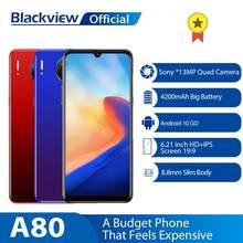 Blackview a80 quad câmera traseira android 10.0 ir telefone móvel 6.21 waterwaterdrop tela hd 2gb + 16gb celular 4200mah 4g smartphone
