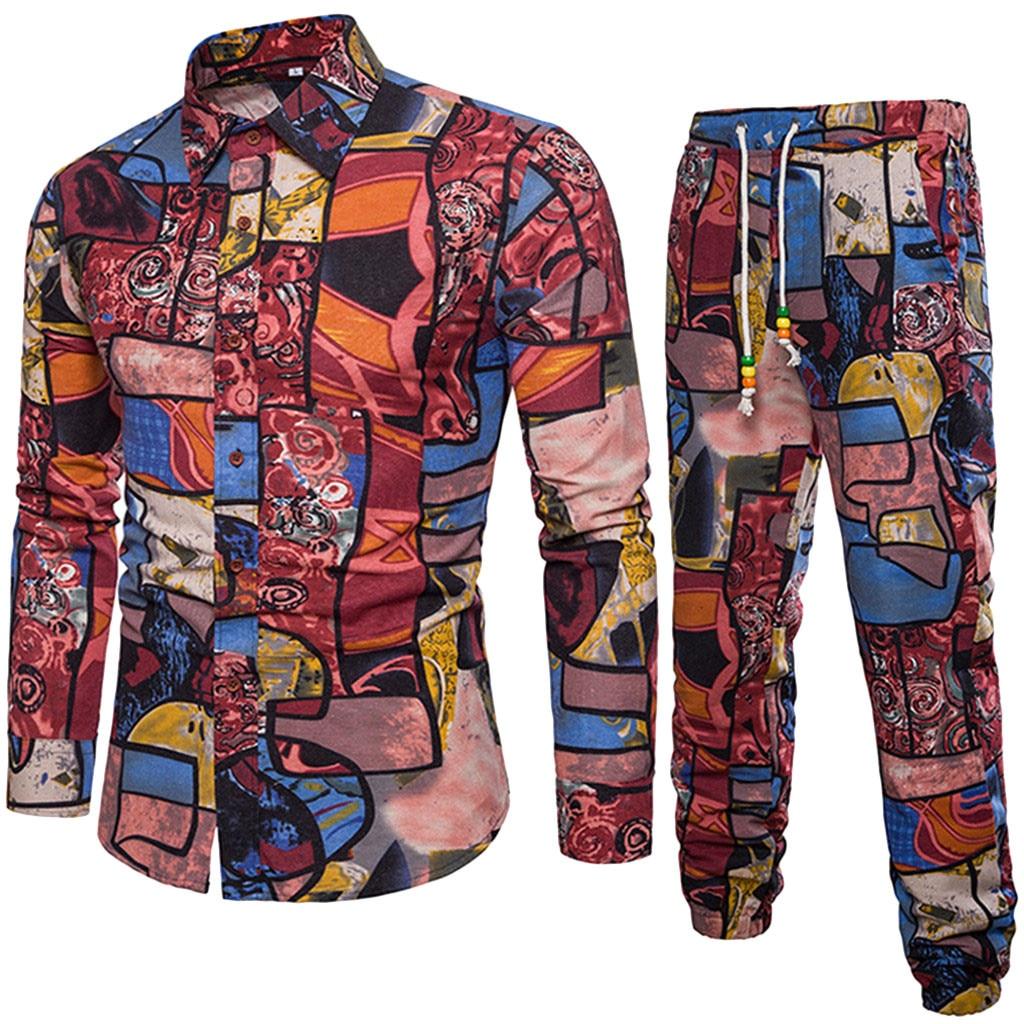 Men Elegant Patchwork Shirt Fashion Flower Beach Shirts Mens Long Pant Vintage Sets Hot Sale Holiday Male Clothing Set