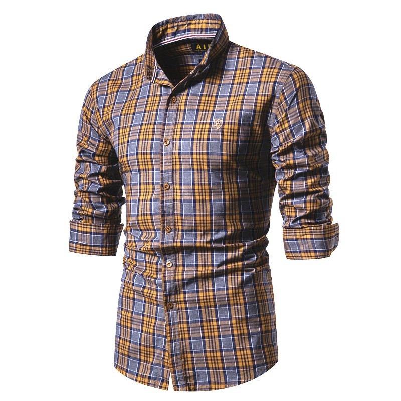 2020 New Spring 100% Cotton Men Shirt Long Sleeve Plaid Social Shirt Men Slim Fit High Quality Social Business Mens Dress Shirts