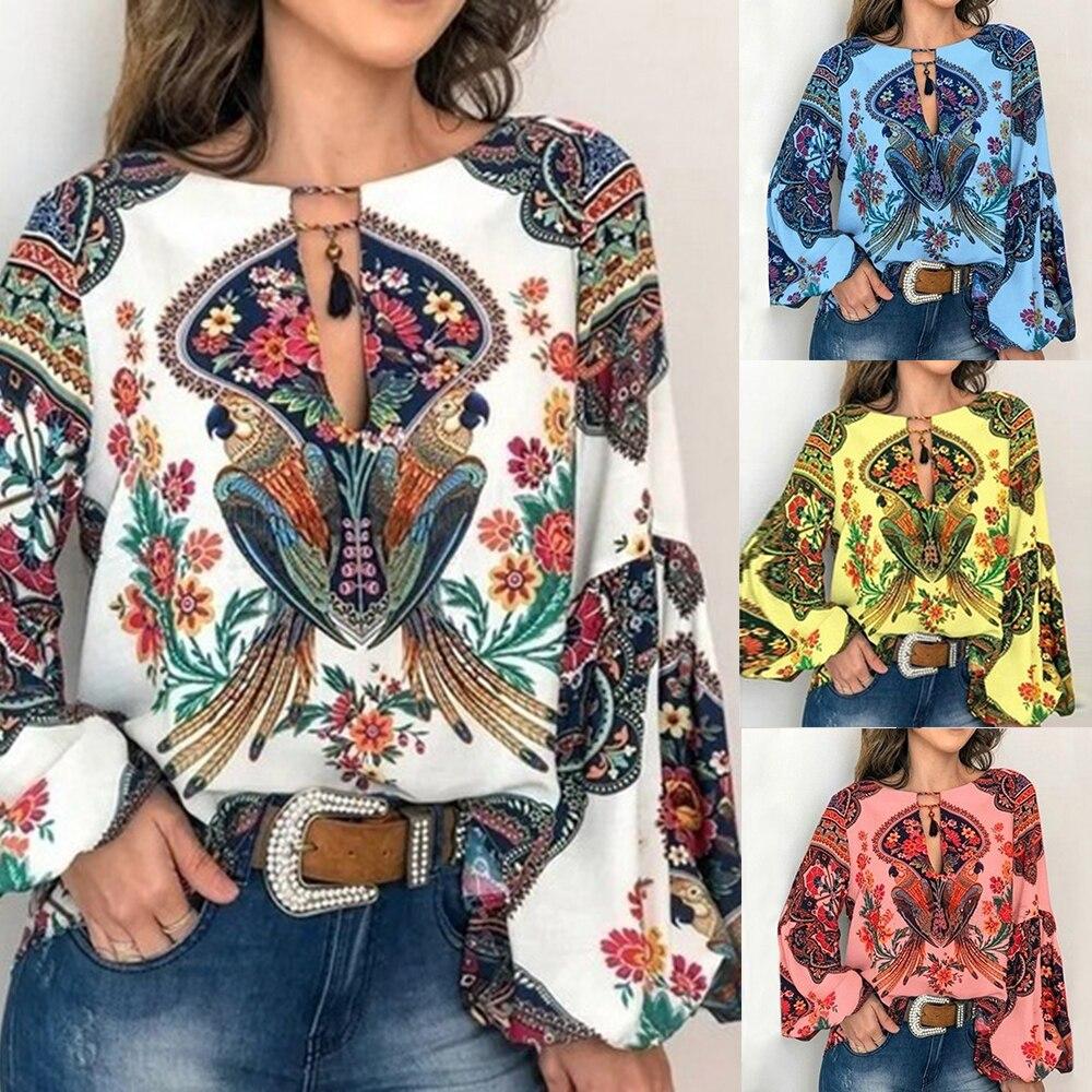 2019 Casual Vintage   Shirt     Blouse   Women Printed Lantern Sleeve Plus Size Womens Tops Loose V Neck Blusas Mujer De Moda