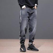 Мода уличной мужские джинсы черно-серого цвета свободная посадка полосой дизайнер джинсовые шаровары японский винтажный хип-хоп джинсы