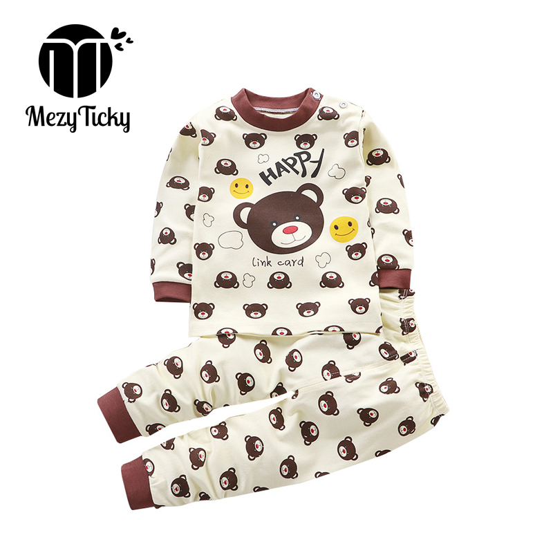 Children's Cotton Underwear Clothes Sets Baby Boys Girls High Quality Kids Pajamas Tollder Cute Cartoon Pattern Casual Sleepwear