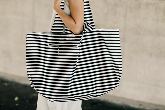 Large Canvas Fashion Durable Women Black And White Stripes Shoulder Bag Shopping Tote Flax Cotton Shopping Bags Maximal