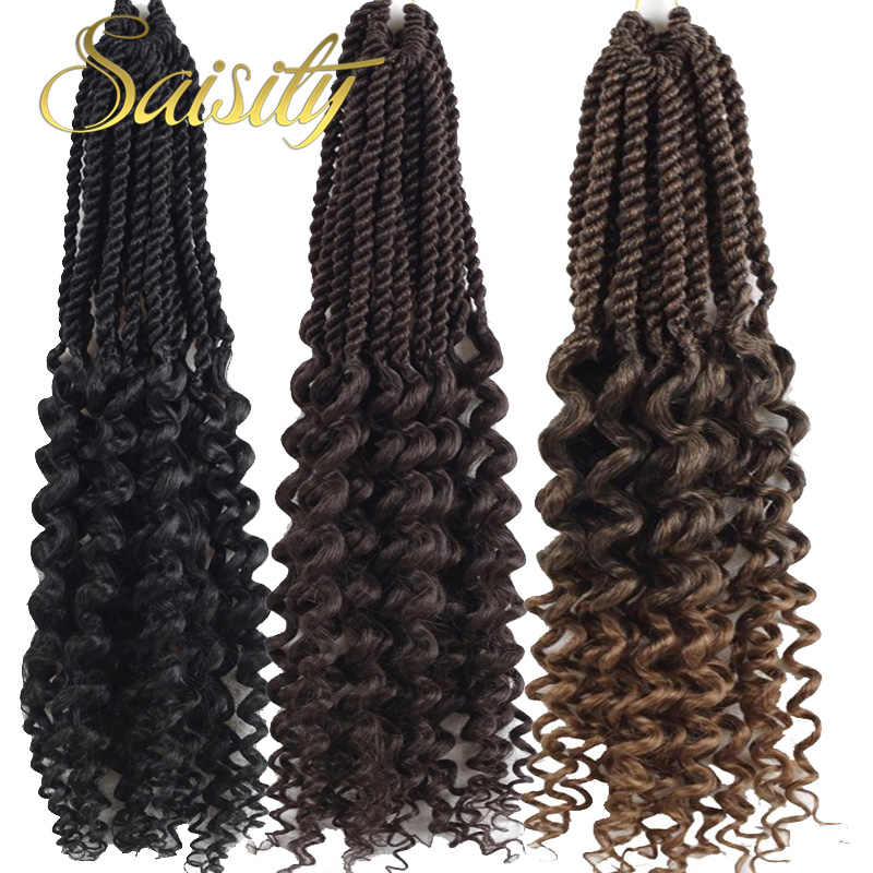 "Saisity 18""Ombre Goddess Senegalese Twist Extensions Crochet Hair With Synthetic Soft Dread Locs Bulk Crochet Braids Hair"