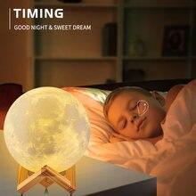 Usb 3d impressão recarregável lua lâmpada led night light criativo toque interruptor luz da lua para decoração do quarto sinais de néon presente das crianças