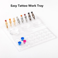 EZ Easy Disposable Plastic Tattoo Work Tray combine rinse cups& ink caps & cartridge slot holds 20 tray